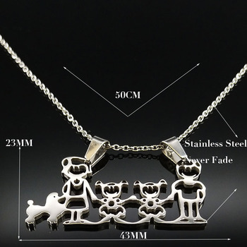Unisex Family Necklace Jewelry Necklaces Women Jewelry Metal Color: 2girl Dog