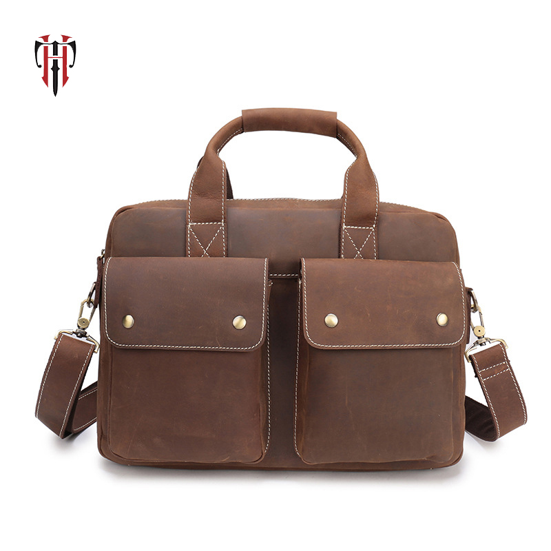 TIANHOO genuine leather bag shoulder & handle man bags crazy horse leather gift bag travel out bags water proof briefcaseTIANHOO genuine leather bag shoulder & handle man bags crazy horse leather gift bag travel out bags water proof briefcase