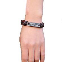 braided leather bracelet for men and women punk adjustable vintage Fashion alphabet Bracelet Student Hand