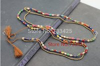 Candy Stone Tassel Long pendant Necklace women handmade woven with cotton cord ,coloured turquoies and slide closure