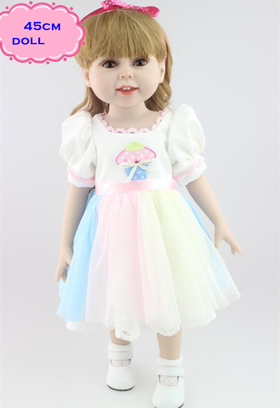 18inch/45cm Sweet American Girl Doll With Long Blonde Hair High Quality Simulation Bebes Reborn De Silicone Giocattoli For Girls мягкая игрушка gund doll berry sweet dolly 10 blonde doll