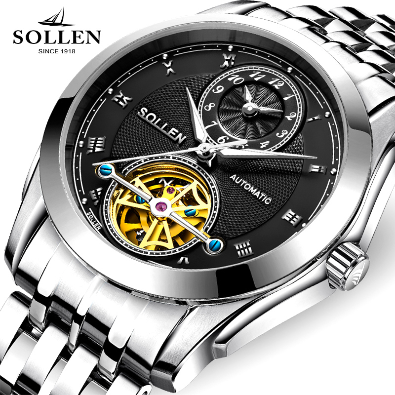 SOLLEN Brand Luxury Business Men Watch Stainless Steel Band Tourbillon clock Automatic Mechanical Watch Waterproof Male Relogio luxury brand sollen men s business watch automatic machinery stainless steel milanian wristband successful man watches male new