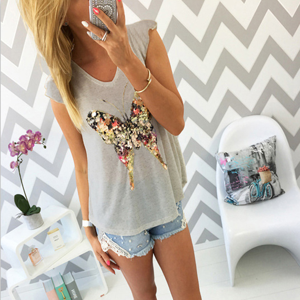 2018 Fashion Summer T Shirts For Women 3D Sequined Butterfly Short Sleeve Grey T Shirt Kawaii Womens Clothing Summer  Cute Tees