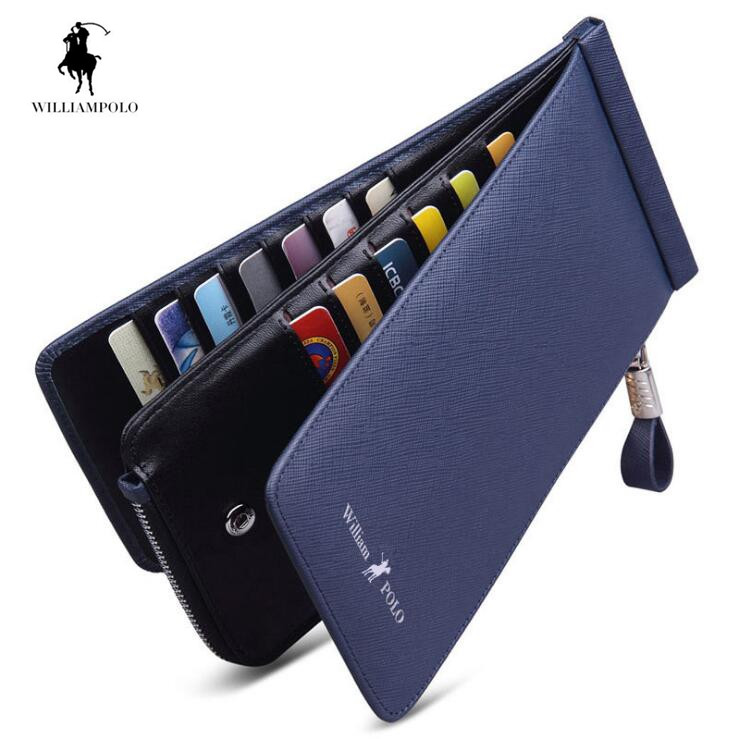 Williampolo Card & ID Holders Genuine Leather Wallet Zippy Card Holder Phone Men Wallet Fashion Handy Purse все цены