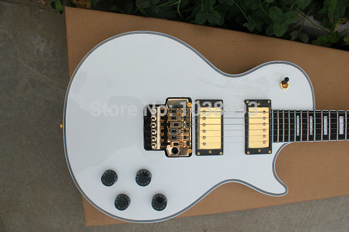 Manufacturer to produce the best white double wave electric guitar can be custom-made DIY EMS free shipping