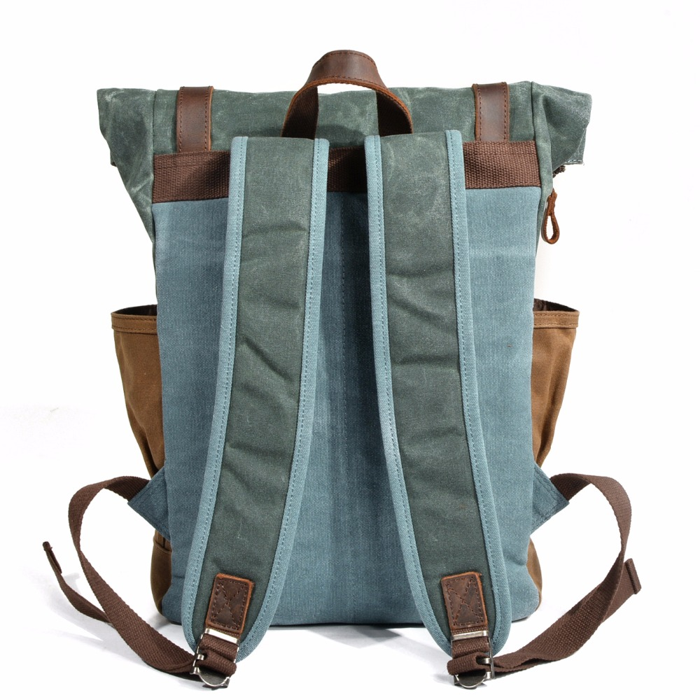 YUPINXUAN Luxury Vintage Canvas Backpacks for Men Oil Wax Canvas Leather  Travel Backpack Large Waterproof Daypacks Retro Bagpack-in Backpacks from  Luggage ... c3ae6f3136