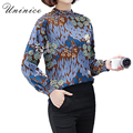 Big Floral Chiffon Blouse Shirt Women Plus Size Retro Korean Style Stand Collar Women Blouse Shirts Women's Clothing 2017 New