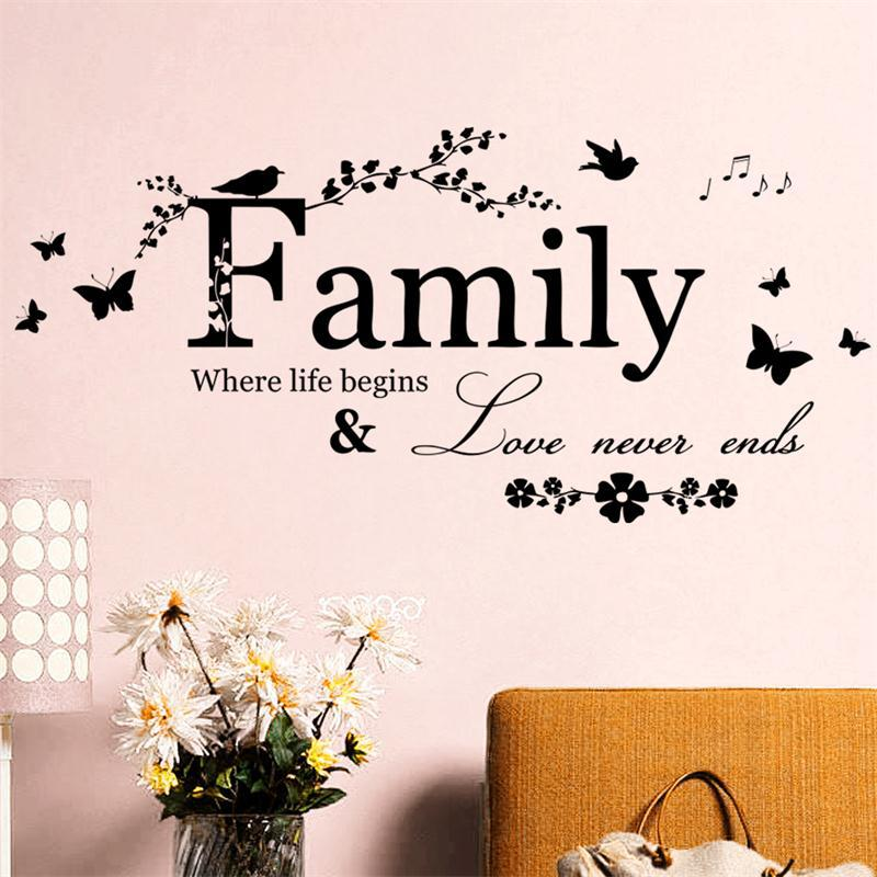 Family Where Life Begins Quote Wall Stickers Flower Vinyl Home