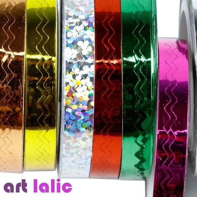 1 sztuk 12 kolor 6mm * 8 m piękno rolki Striping kalkomanie do paznokci folia porady taśmy linii DIY projekt naklejki Nail Art JH236