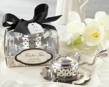 FREE SHIPPING+Kitchen Wedding Supplies Tea Time Teapot Tea Infusers Stainless Steel Tea Strainers Bridal Shower Favor+20pcs/Lot