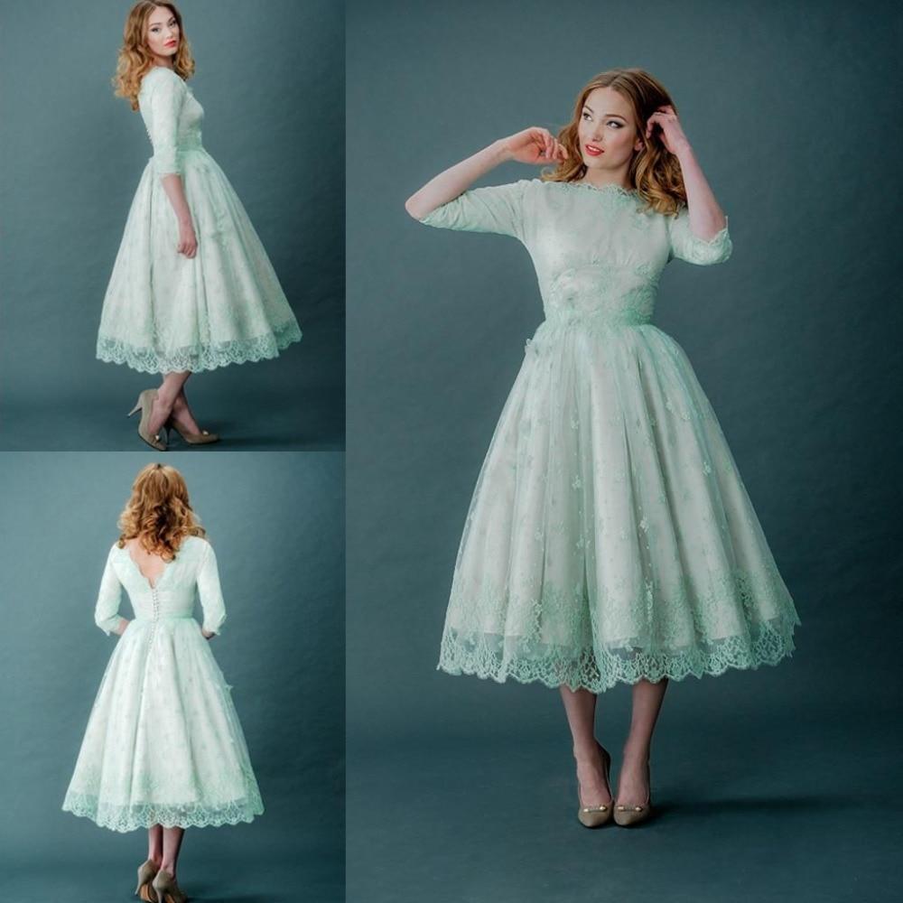 Mint Green Tea Length Wedding Dresses 2015 Summer A Line Lace 3/4 ...