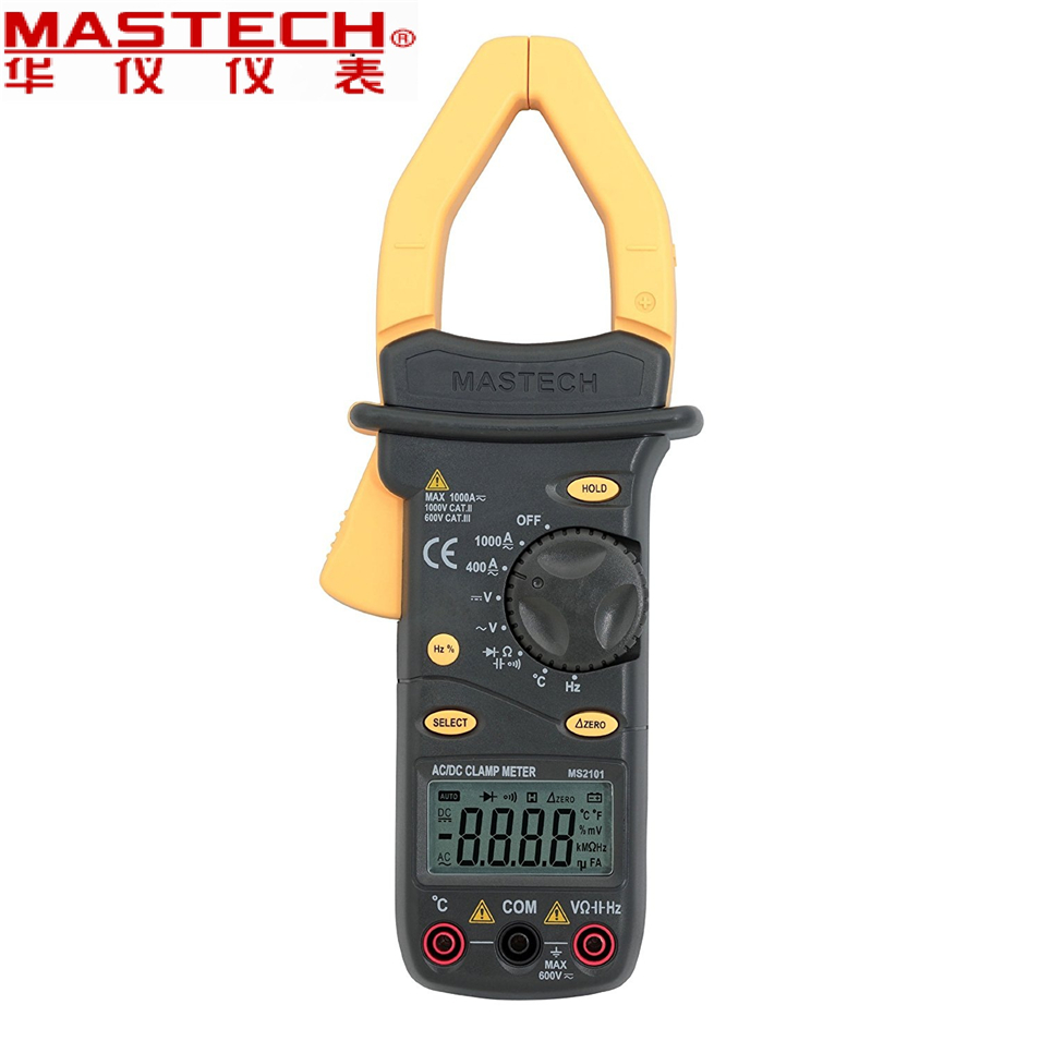 2017 New MASTECH MS2101 AC/DC 1000A Digital Clamp Meter DMM Hz/C clamp meter measured capacitance frequency temperature mastech my62 handheld digital multimeter dmm w temperature capacitance
