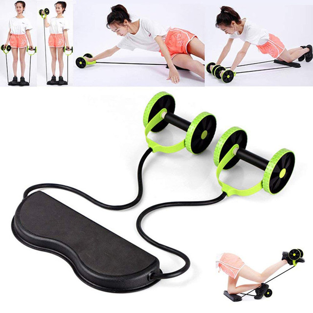 Sport Core Double AB Roller Abdominal Wheel Exercise Equipment Waist Slimming Trainer Home Fitness Gym Body Building ABS Workout