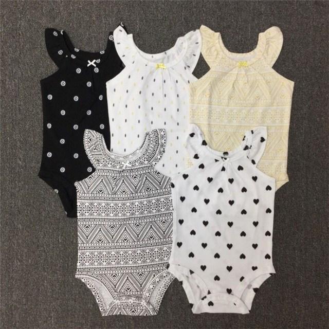 Carter 5 unids/lote Otoño Primavera de Manga corta 5 piezas de conjunto Original bebes niños Mono Del Bebé fijado ropa de Recién Nacido ropa