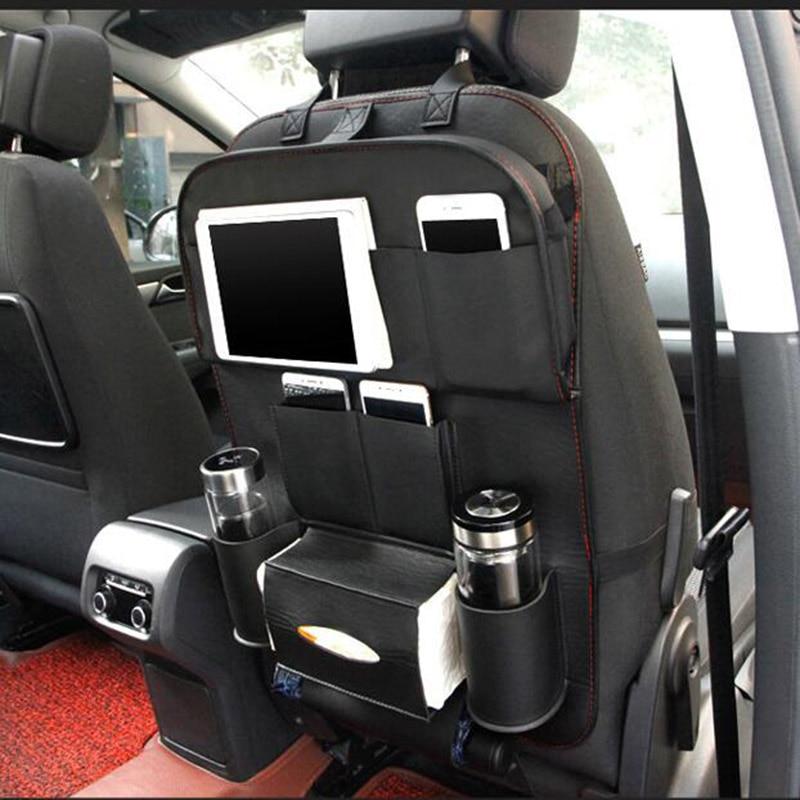 Us 22 17 11 Off Leather Car Back Seat Organizer Pockets Folding Backseat Hanging Holder Storage Bags Car Tissue Bag Auto Organizador Black In