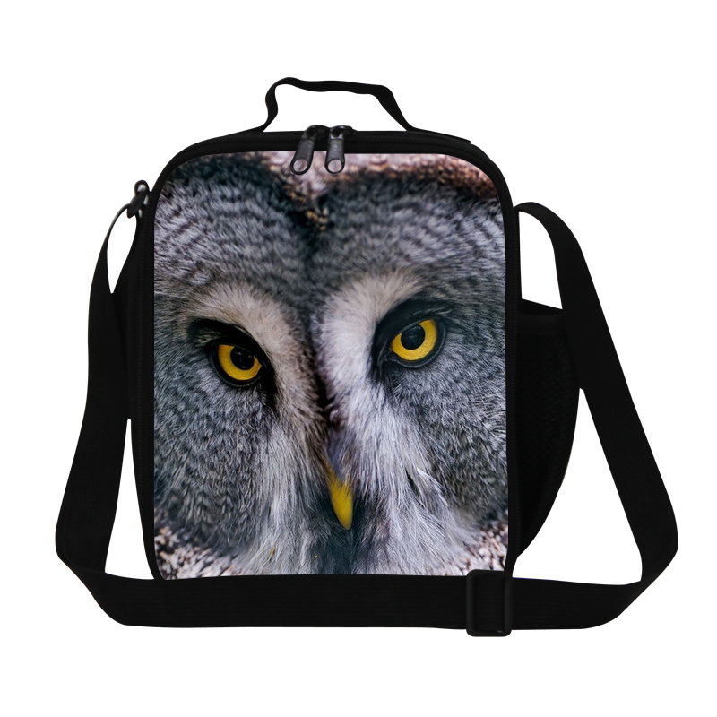 Cute Animal Owl 3D Printing Cooler Lunch Bag For Kids Insulated Picnic Container School Lunch Box Office Ladies Small Food Bag