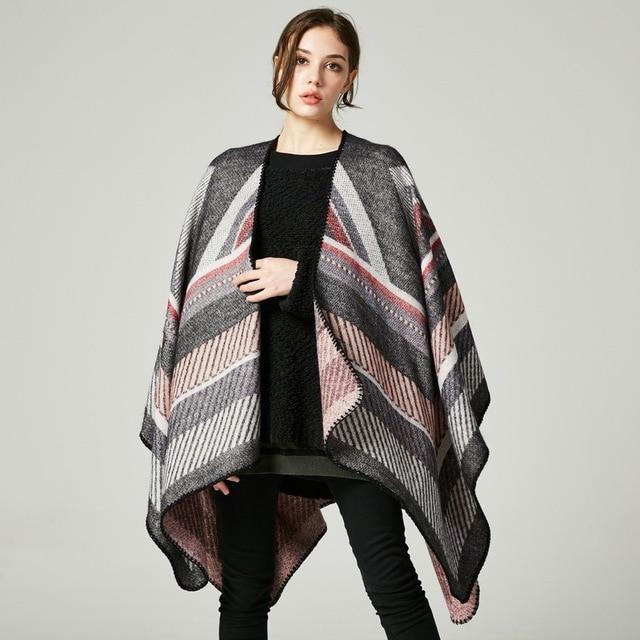 Marque de luxe poncho capes femmes écharpes d hiver châle dame Vintage  plaid Couverture tricot 644bd70d5bd