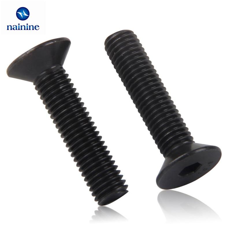 50Pcs DIN7991 ISO1064 M2 M2.5 M3 M4 Black SHCS Grade 10.9 Countersunk Head Flat Socket Cap Screw Machine Screws HW046 niko 50pcs chrome single coil pickup screws