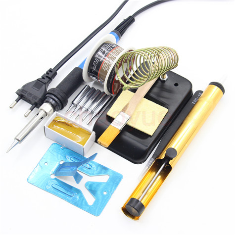 60W 220V EU Electric Adjustable Temperature Welding Solder Soldering Iron Welding Tool with 5pcs Iron Tips + Tin wire 110v 220v 60w adjustable electric temperature gun welding soldering iron tool with tin wire