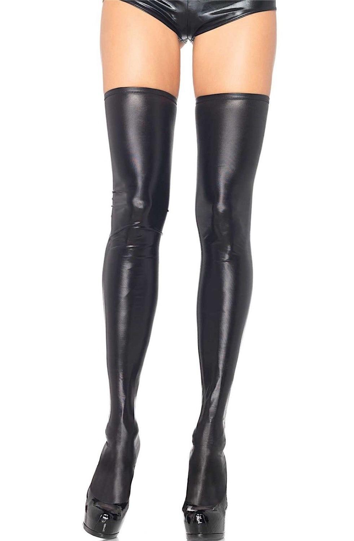 Sexy Black Fetish Wet Look Metallic Thigh Highs Thigh High -5667