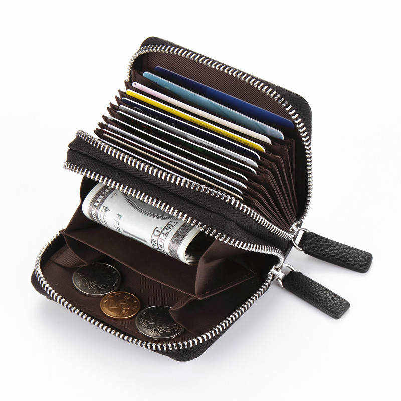 High Quality Leather Purse Women Men Card Holder Double Zipper Large Capacity Female ID Credit Card Case Bag Wallet Purse baellerry double zipper women business card holder wallet oil wax leather purse female name bank credit cards driver license bag