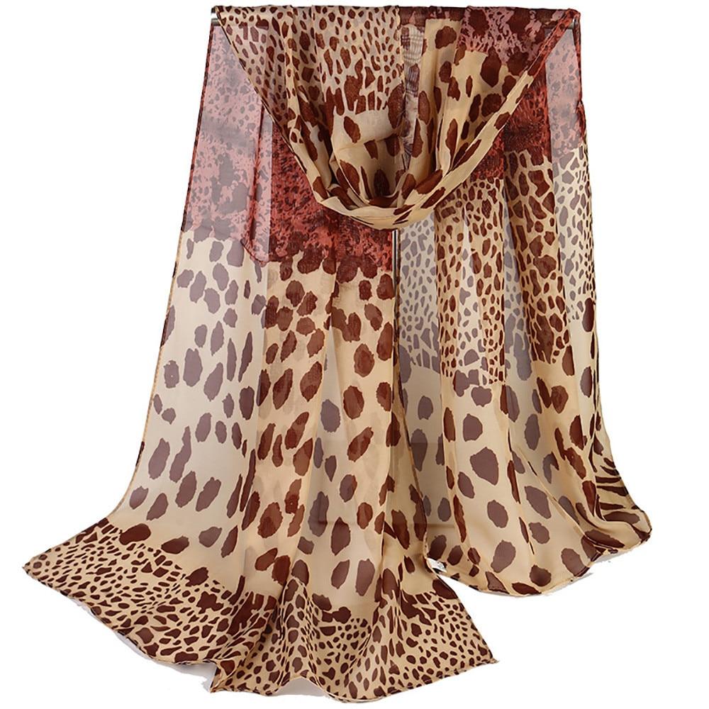 2018 Mode Frauen Winter Femme Seide Chiffon Winter Schal Schal Lange Schal Warm Wrap Leopard Print Elegante Schleier Psept6 Gute QualitäT