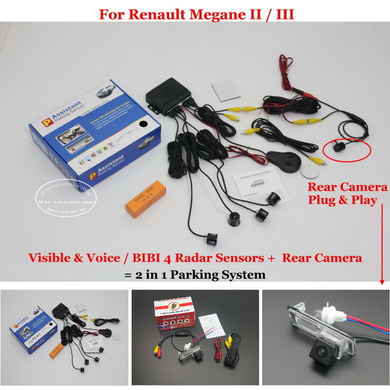 For Renault Megane 2 II / 3 III - Car Parking Sensors + Rear View Camera = 2 in 1 Visual / BIBI Alarm Parking System renault megane coupe 1999