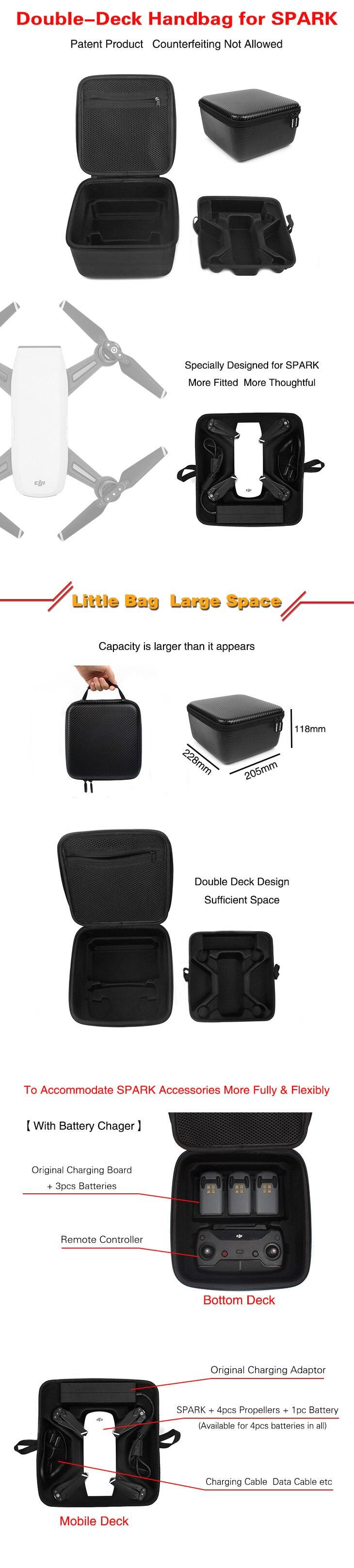 Sunnylife DJI Spark Drone Double Deck Handbag Suitcase PU Waterproof Aircraft Portable Storage Bag for DJI Spark Accessories