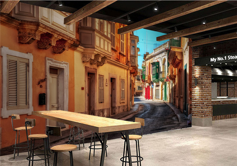 Custom 3D Room Wallpaper Landscape Photo Wall Murals Ital Town Street 3D Wall Mural European for Hotel Restaurant Wallpaper-3D custom photo wallpaper 3d wall murals balloon shell seagull wallpapers landscape murals wall paper for living room 3d wall mural