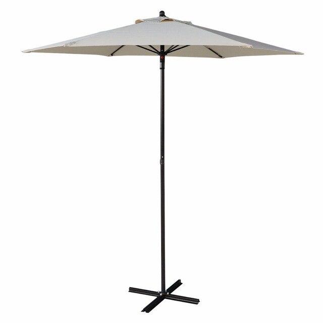 7.2FT Outdoor Patio Steel Market Umbrella Beach Shade With Cross Base Beige  HW51586