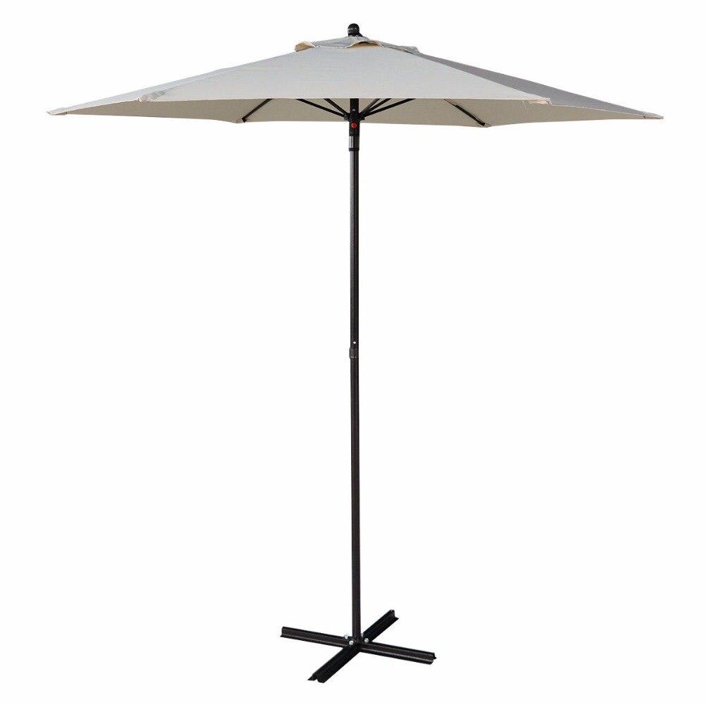 7.2FT Pátio Ao Ar Livre Praia Sombra Do Guarda-chuva Do Mercado de Aço Com Base de Cruz Bege HW51586