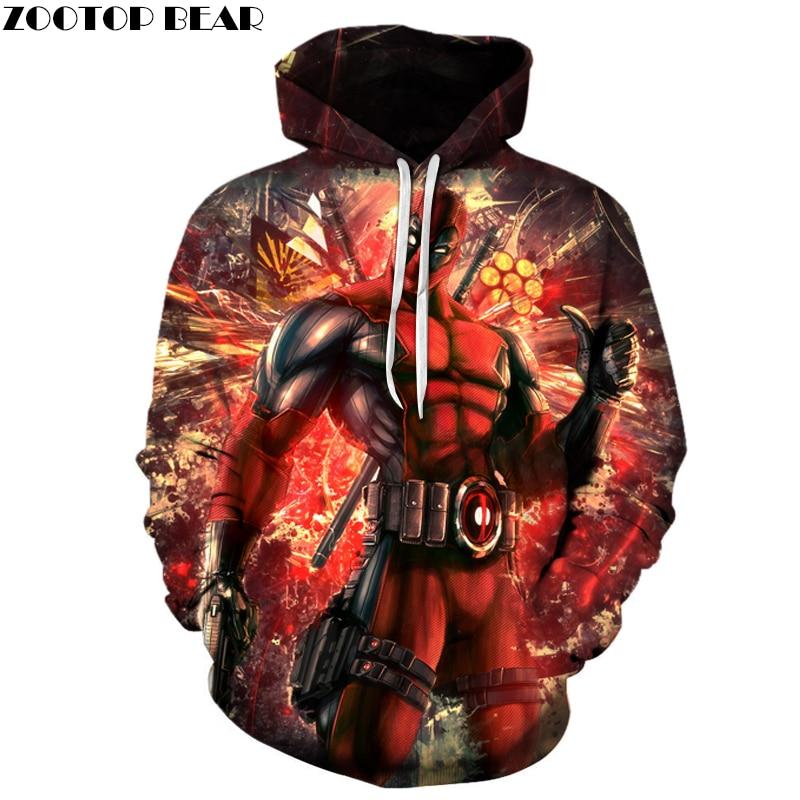 Deadpool Hoodies Funny 3D Hoodie Movie Tracksuits Men Women Sweatshirts Brand Hooded Pullover Fashion Casual Streetwear