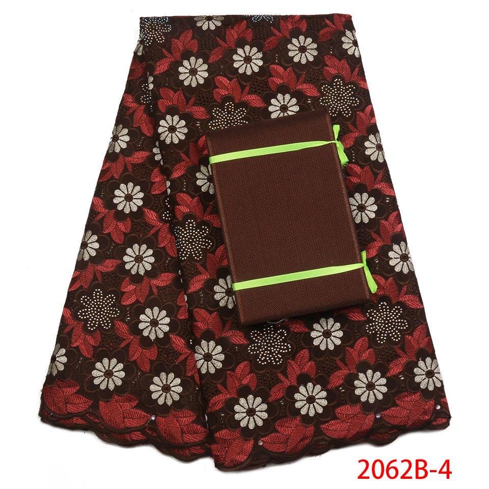 Nigérian Tissu Dentelle Luxueux Vert Lacet Suisse de voile En Suisse Brodé Tissu de Coton Sec Avec Aso OkeXZ2062B-2