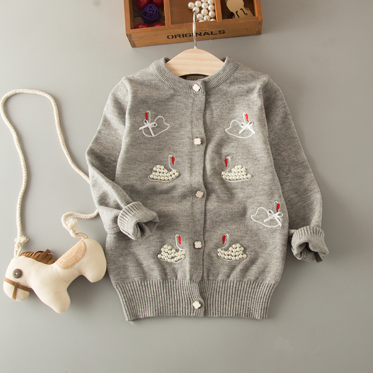 YGJR 170732 2017 Baby Sweater Grils Cardigan Appliques Pearl Animl Girls Sweater Full Sleeve Girls Clothes