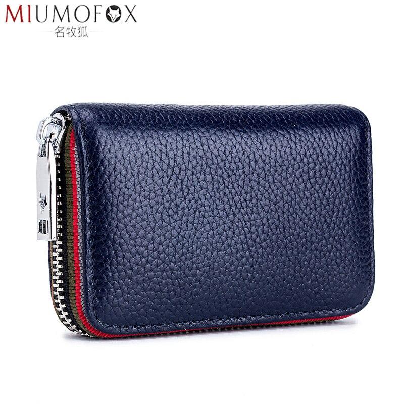 2020 New Fashion Women's Card Bag Genuine Leather Men Credit Card Holder Rfid Wallet Female Change Organizer Small Purse Zipper