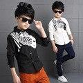 School Boys Shirts Long Sleeve Zebra Print Blouses Boys Children Clothing Cotton Turn-Down Collar Kids Tops 3 5 7 9 11 13 Years