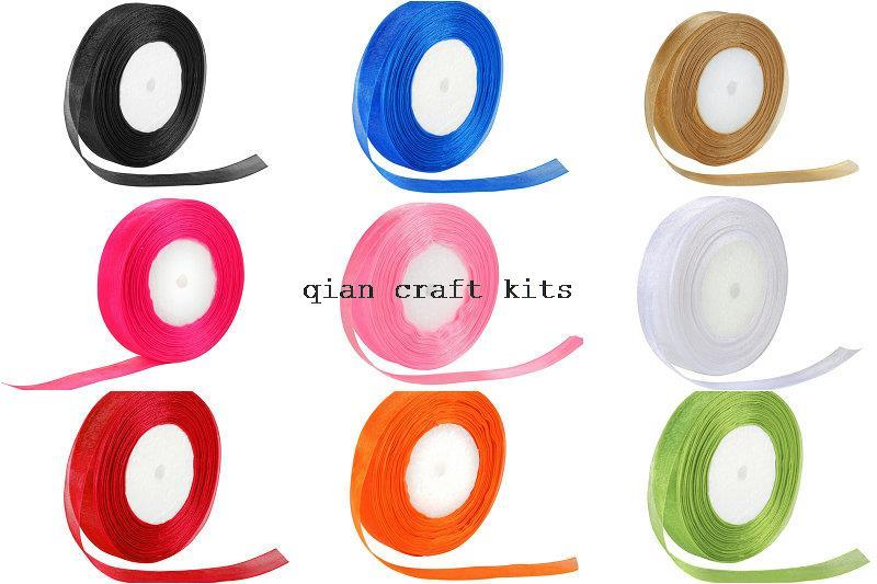 500 yards 20 mm Wide Woven Trim Sheer Color Organza Ribbon Gift Chiffon for Wedding Craft Sewing Party Favor mix color