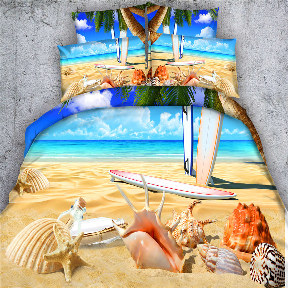 Twin beach bedding - Sand Beach Bedding Bed Sets Queen King Twin Oil Painting 3d Shell Starfish Doona Quilt Duvet