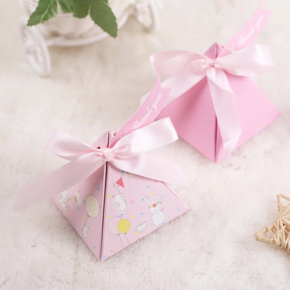 100pcs New pink Triangular Pyramid cartoon rabbit Candy Boxes + ...