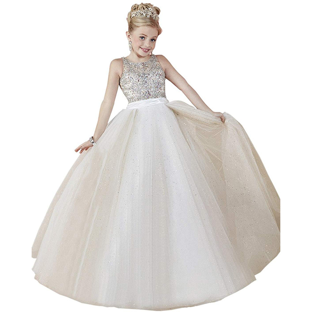 Little Girls Prom Dresses Beaded Corset Kids Ball Gowns For Children