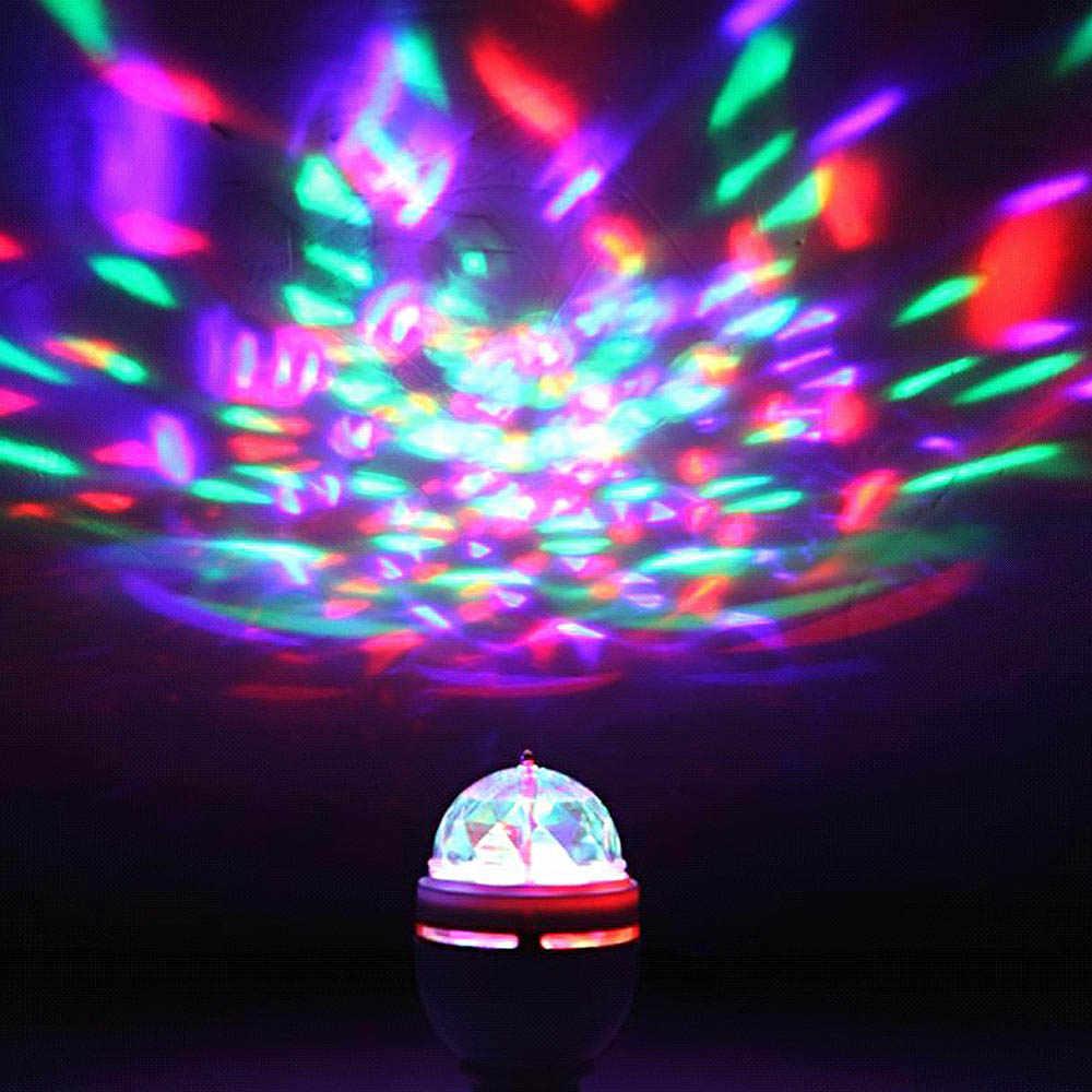 צבע מלא חדש 3 w מיני E27 RGB LED מנורה אוטומטי מסתובב rgb led dj דיסקו שלב הדלקת 85-265 V הנורה חג תאורת KTV בר