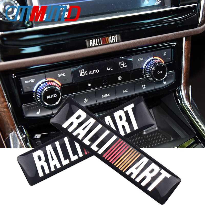 2Pcs 3D Car Styling Epoxy Glue Decal Ralli Art Emblem Badge Sticker For Mitsubishi Lancer Outlander Ralliart Auto Accessories