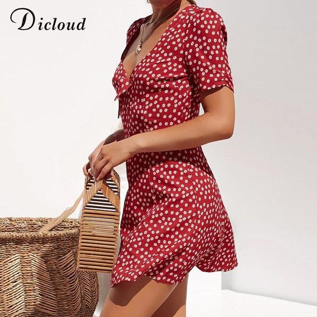 DICLOUD V Neck Sexy Polka Dot z krótkim rękawem letnie sukienki kobiety elegancki plaża Sundress Party sukienka bodycon duże rozmiary Casual Streetwear