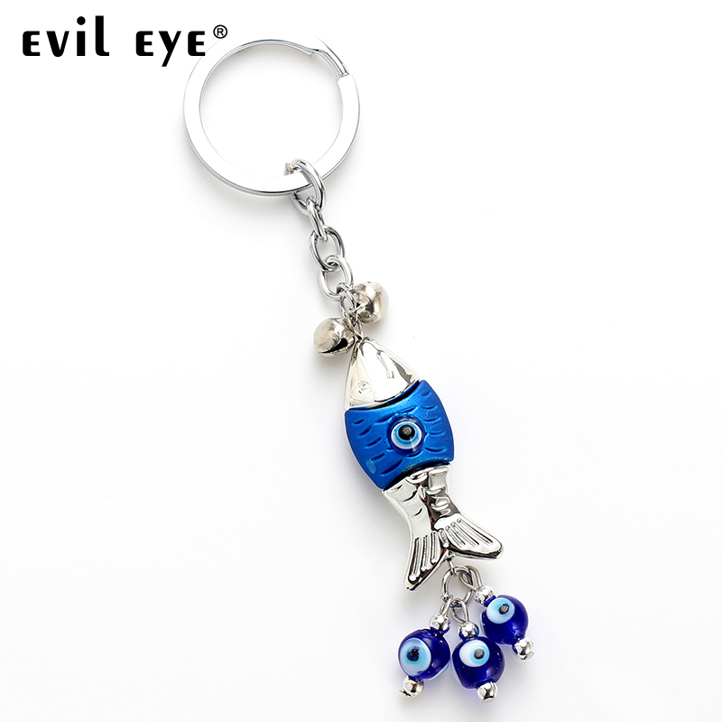 Evil Eye FREE SHIPPING 2018 Fashion Alloy Fish Shape Charm Car Keychain Jewelry Pendant With BULE EVIL EYE BEAD EY4732