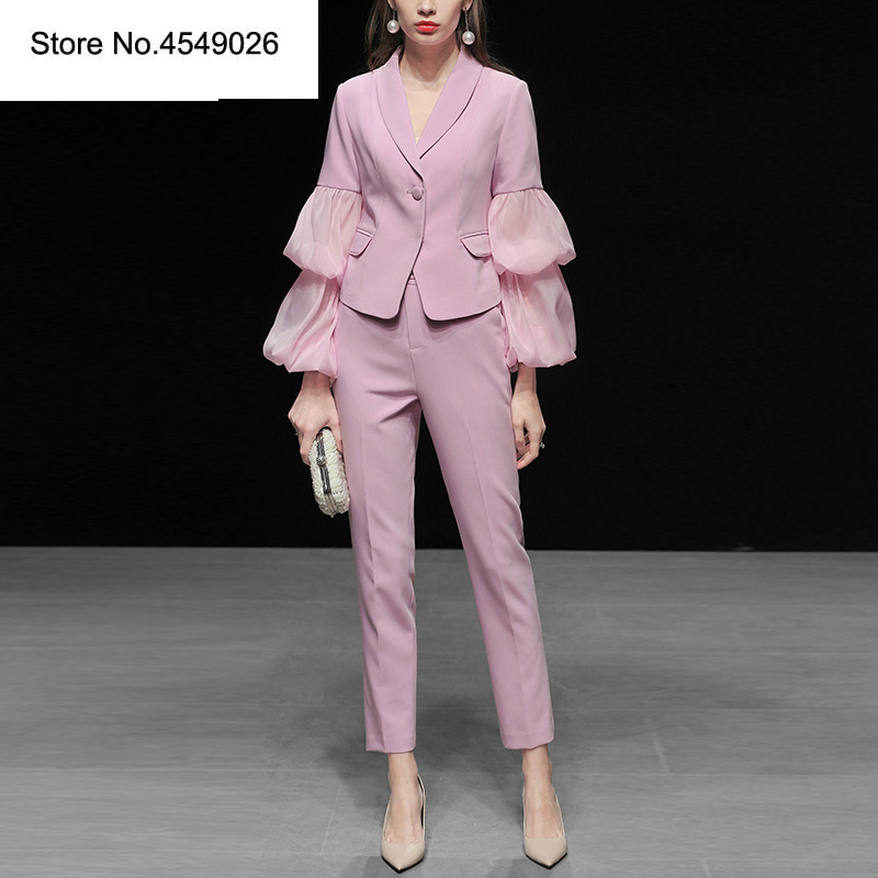 À Spliced Pièces Sexy Puff Pink Crayon Cranté Mesh La Mode 2019 Pantalon Ensemble Manches 2 Top Femmes Long Costumes Ab173 De Ensembles qTYFSO
