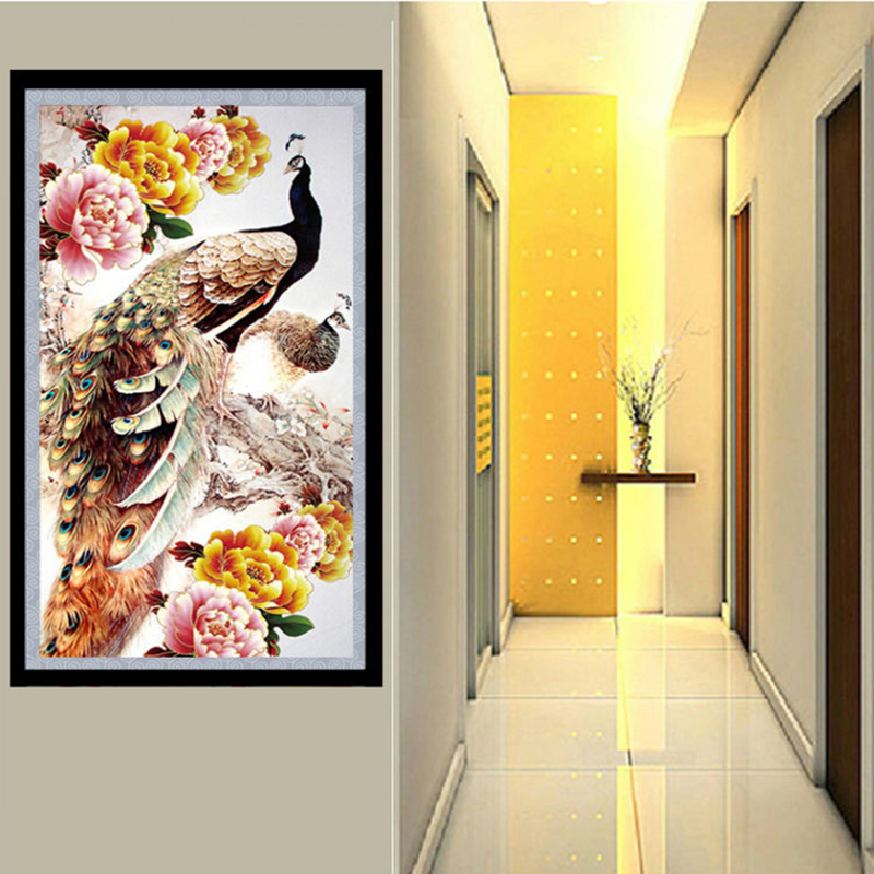 Diamond Painting Nature Villa Flowers Peacock DIY 3D Diamond Embroidery River Trees Scenery Flowers Picture Mosaic Drawings