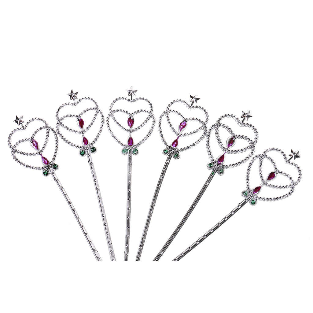 12pcs Glitter เงิน Fairy Angel ผีเสื้อหัวใจ Wands เด็กสาวแฟนซีชุดเจ้าหญิง Wands Cosplay เครื่องแต่งกายอุปกรณ์เสริม