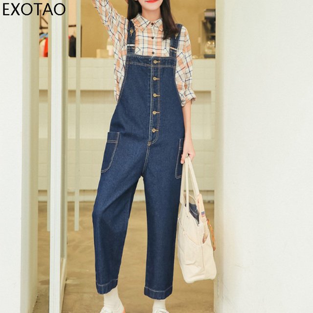 ed5b852fc89e EXOTAO Front Button Body Jumpsuits For Girls Oversized Side Pockets Overalls  Denim Pants Women Blue Casual Basic Jeans Playsuit