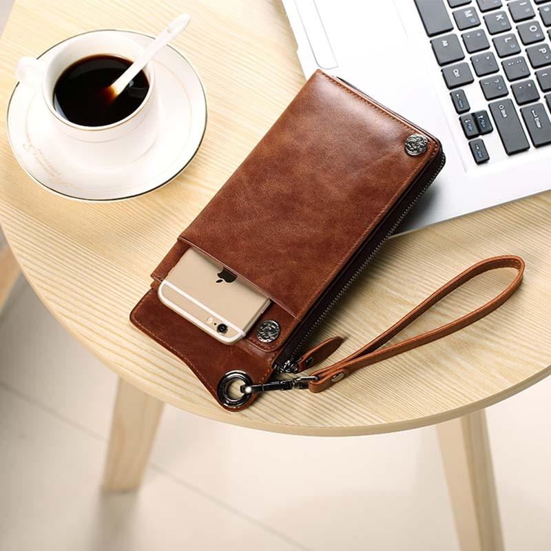 Pabojoe Mens Wallet Leather Zipper Vintage Clutch Bag Large Capacity Card Holder Male Purse цены