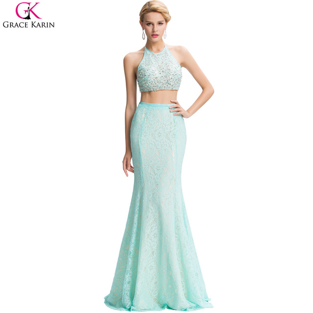 69561b85803d Long Two Piece Prom Dresses 2017 Grace Karin Sequin Lace Satin Backless Sexy  Mermaid Dress Turquoise Party 2 Piece Prom Dresses